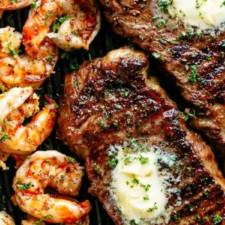 garlic butter grilled steak and shrimp